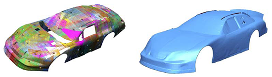 Scan data processed into NURBS surfaces using Geomagic Design X