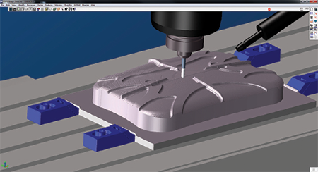 GibbsCAM Cut Part rendering verifies tool paths, shows surface finish for CNC machining