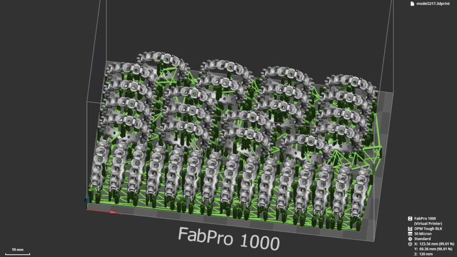 Capture d'écran de la préparation d'une pièce 3D Sprint